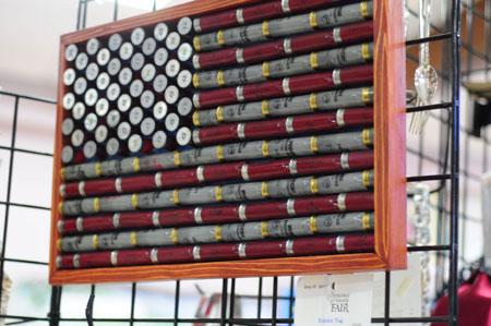flag, shell casings