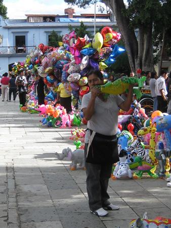 balloon vender on the Zocalo, Oaxaca