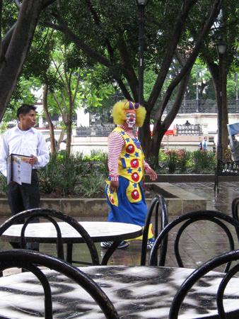 clown on the Zocalo, Oaxaca