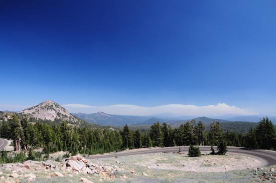 mendocino county fires as seen from Lassen Peak